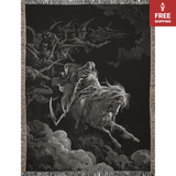 The Fourth Horseman, Death on the Pale Horse Gustave Doré Woven Blankets