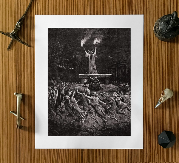 Witches Dancing at a Sabbath Gustave Doré Dark Art Poster Print