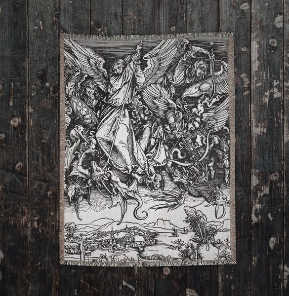 Albrecht Dürer Saint Michael Fighting the Dragon Woven Blankets