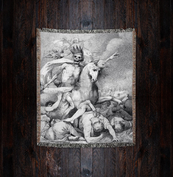 Death on a Pale Horse John Hamilton Mortimer Woven Blanket