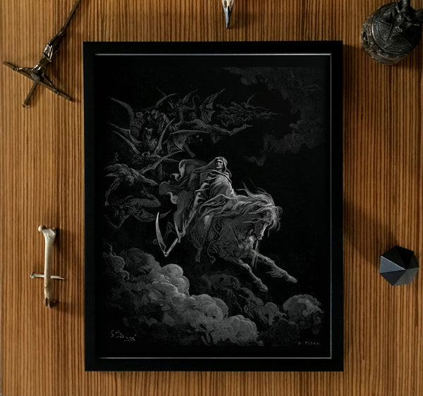 Death on the Pale Horse Doré Framed Dark Art Poster