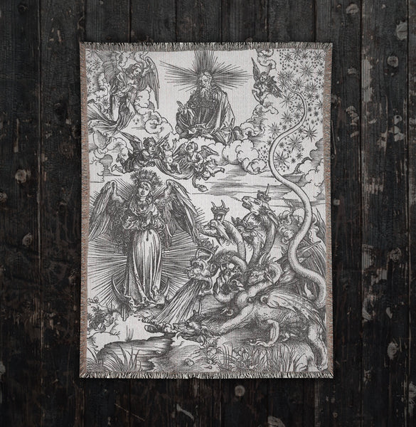 dark artwork woven blanket