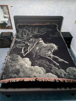 Gustave Dore Art blanket on Queen size bed