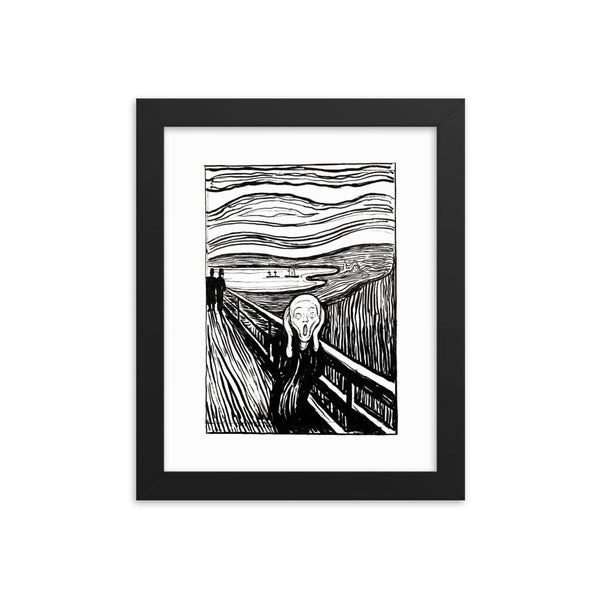 The Scream Edvard Munch black white Framed Poster