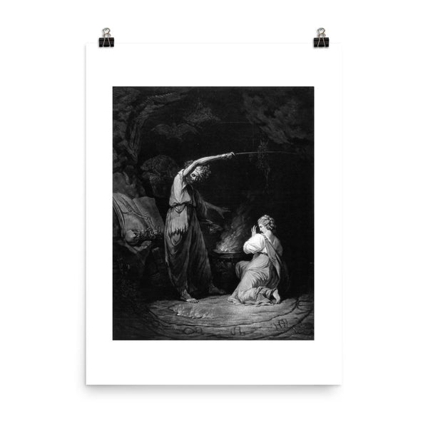 A Witch Mezzotint Poster Print dark witch art