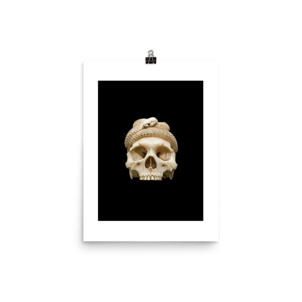 Carved Skull Poster Print Ivory model of a skull and snake, Europe, undated. Credit: Science Museum, London. CC BY