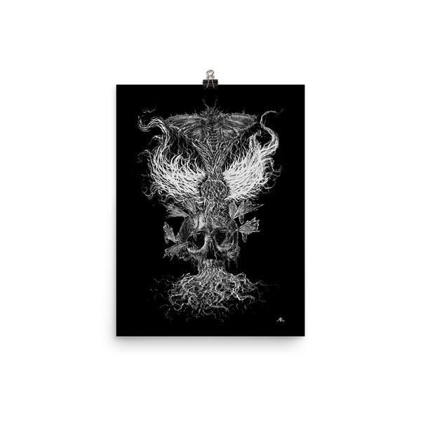 Emanating Death Fred Grabosky B/W Graphic Poster Print