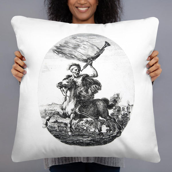 Death on Horseback Holding a Trumpet Stefano della Bella Basic Pillow