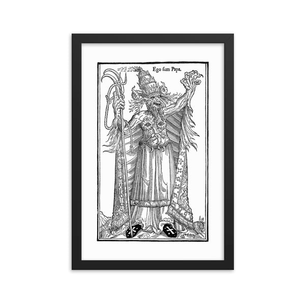 devil pope dark art print framed