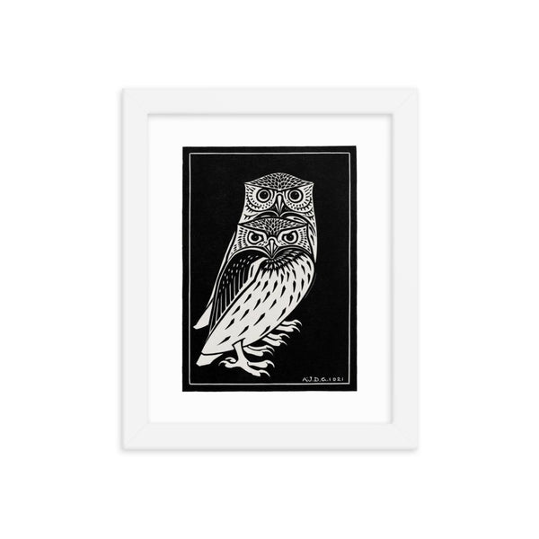 Two Owls by Julie de Graag Framed poster