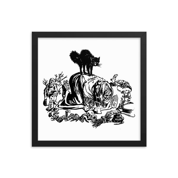 Witch and Black Cat Framed Art Poster