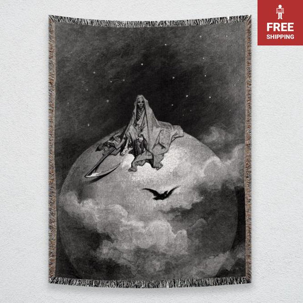 The Raven: Presents a Vision of Death Gustave Doré Woven Blankets