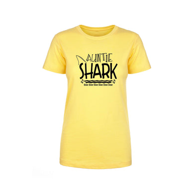 Shark Family Cotton Blend Tee By Pink Box - Auntie Shark
