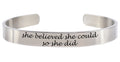 Pink Box Solid Stainless Steel 8mm Inspirational Cuff Bracelet in Silver