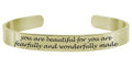 Pink Box Solid Stainless Steel 8mm Inspirational Cuff Bracelet in Gold