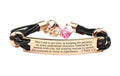 Pink Box Genuine Leather Scripture Bracelet with Crystals from Swarovski