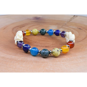 Genuine Chakra Bracelet With Natural Carved Elephant Shell Pearl By Pink Box