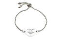 Solid Stainless Steel Inspirational Heart Slider Bracelet by Pink Box