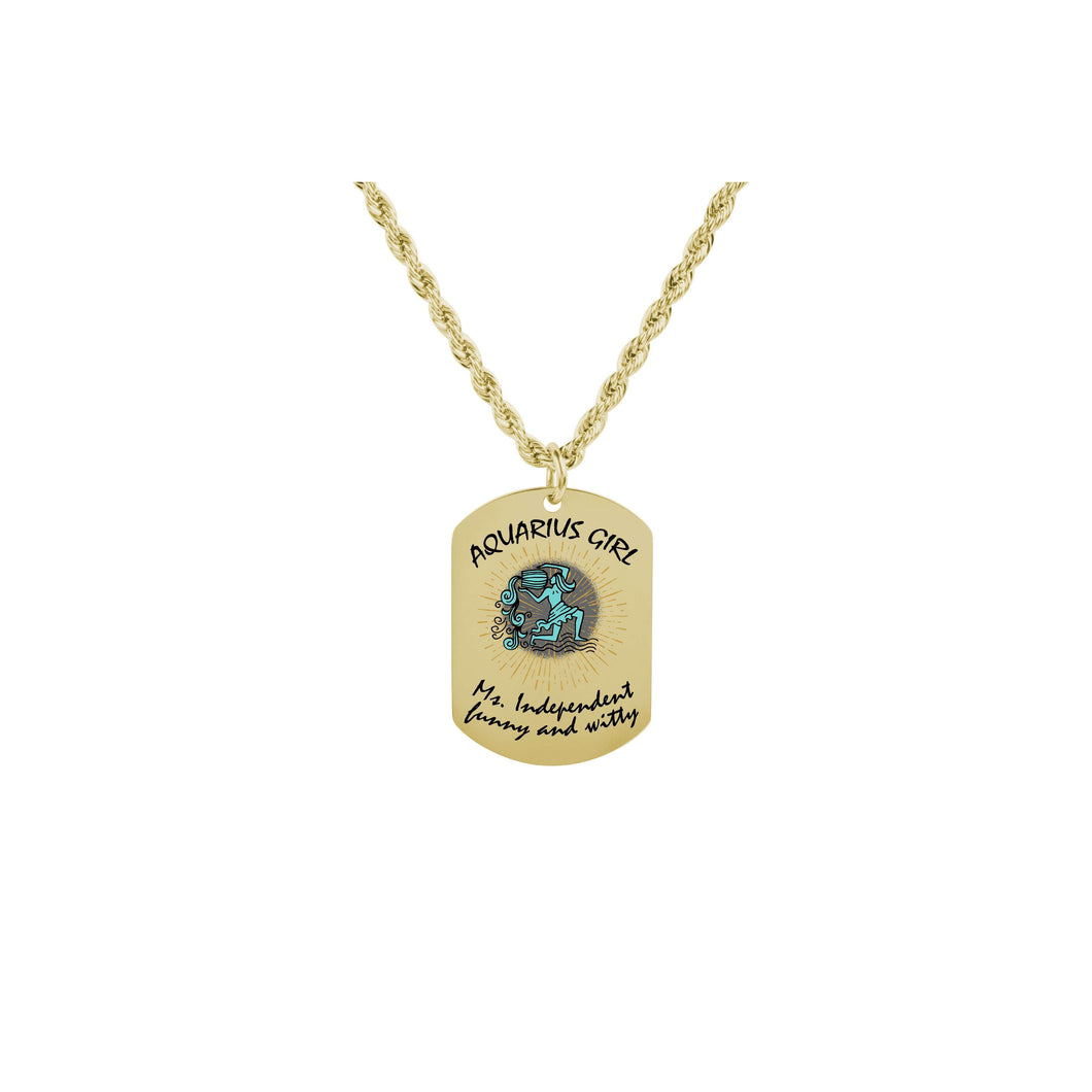 Ms Zodiac Tag Necklace - Multiple Colors Available