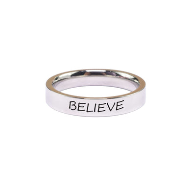 Stainless Steel Comfort Fit Inspirational Ring in Silver By Pink Box