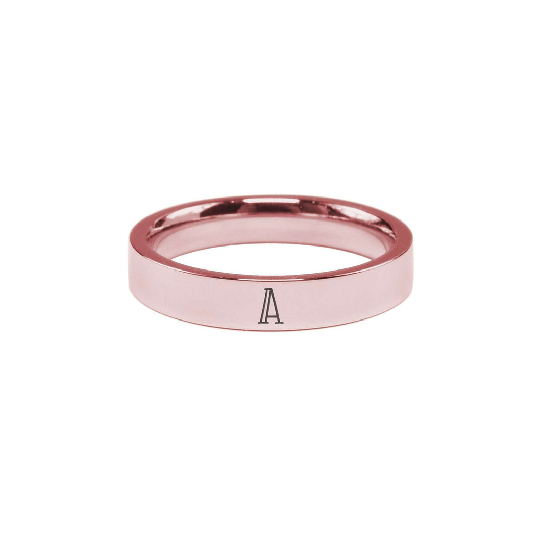 Solid Stainless Steel Initial Ring In Rose Gold By Pink Box