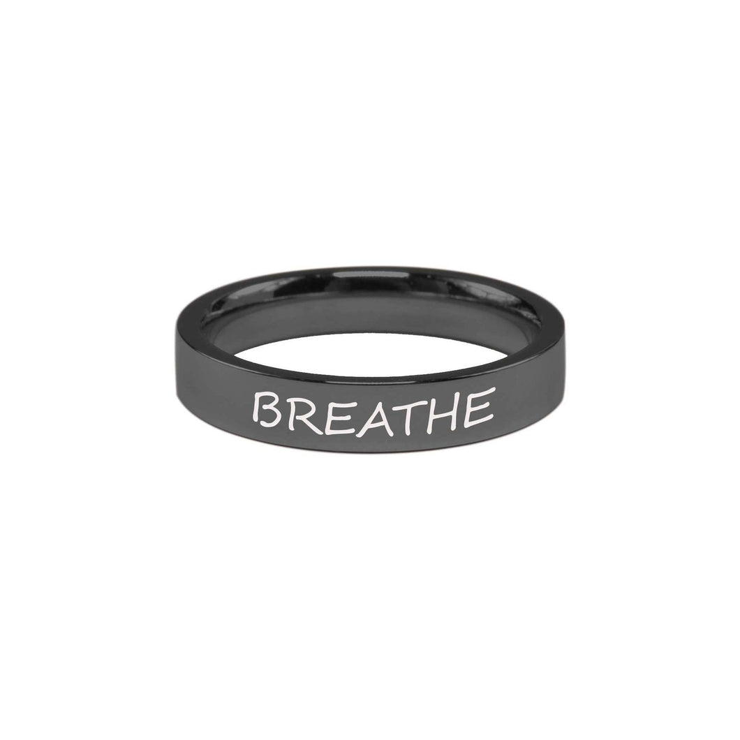 Stainless Steel Comfort Fit Inspirational Ring By Pink Box - Breathe