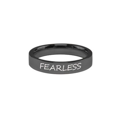Stainless Steel Comfort Fit Inspirational Ring By Pink Box - Fearless