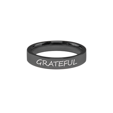 Stainless Steel Comfort Fit Inspirational Ring By Pink Box - Grateful