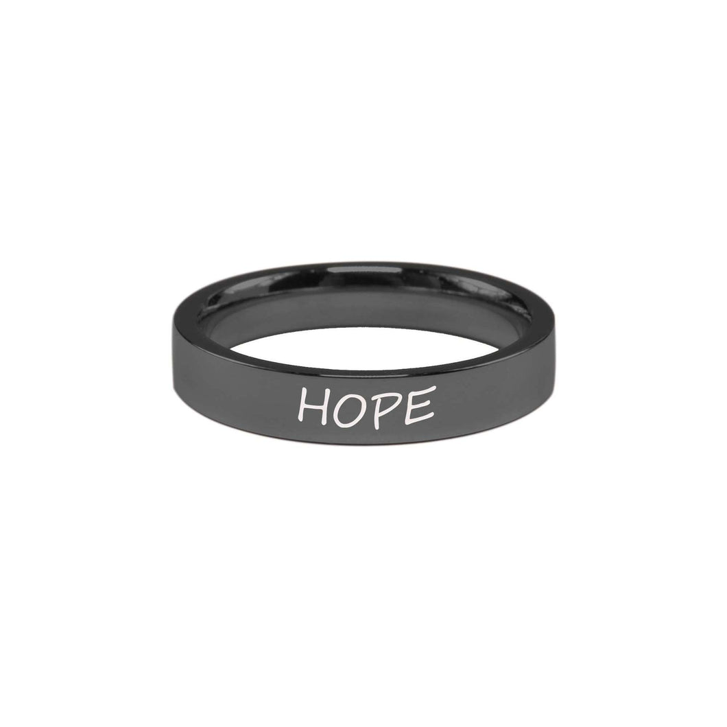 Stainless Steel Comfort Fit Inspirational Ring By Pink Box - Hope