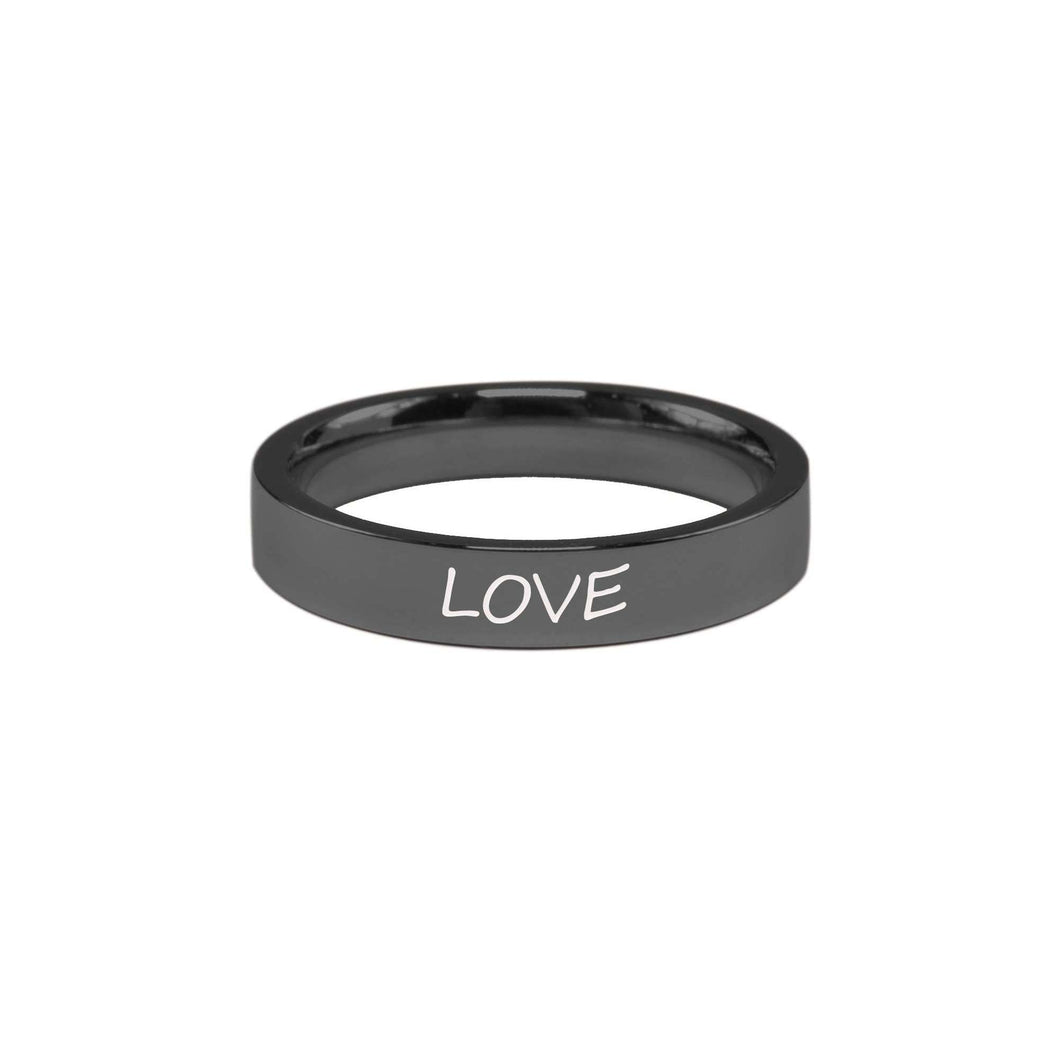 Stainless Steel Comfort Fit Inspirational Ring By Pink Box - Love