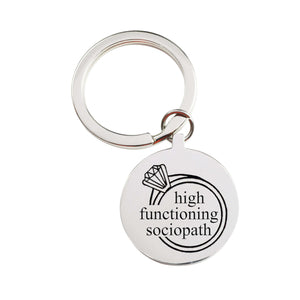Solid Stainless Steel Round Sassy Keychain By Pink Box