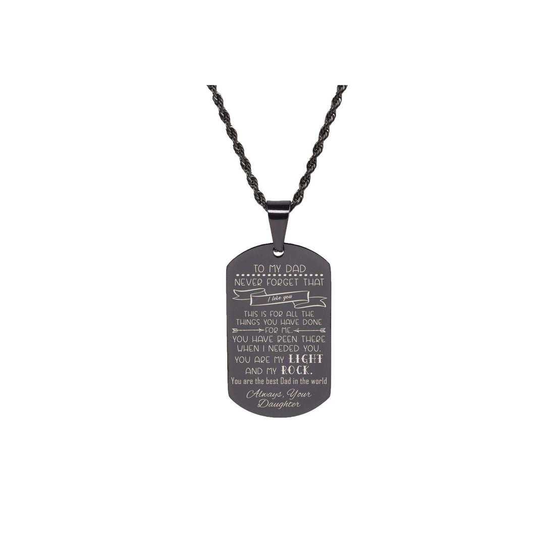 Solid Stainless Steel Sentimental Message Tag Necklace By Pink Box Part 1