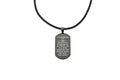 Genuine Braided Leather Scripture Necklace By Pink Box - Black