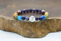 Genuine Chakra Round Initial Stretch Bracelet by Pink Box