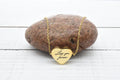 Stainless Steel Inspirational Heart Drop Necklace in Gold by Pink Box