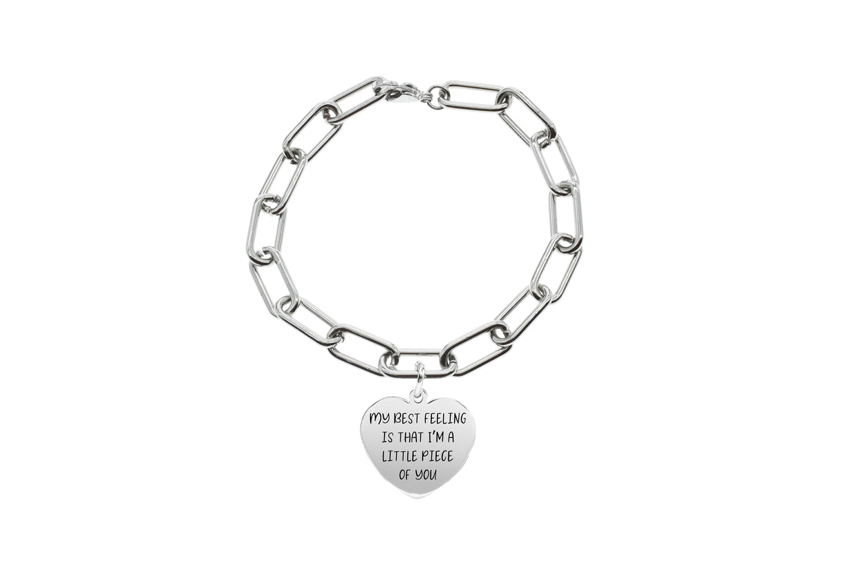 Silver Y Pink Box Love Between Grandmother Initial Bangle with Cubic Zirconia