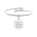 Solid Stainless Steel Open Cable Motivational Charm Bracelet By Pink Box