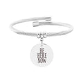 Solid Stainless Steel Open Cable Inspirational Charm Bracelet By Pink Box