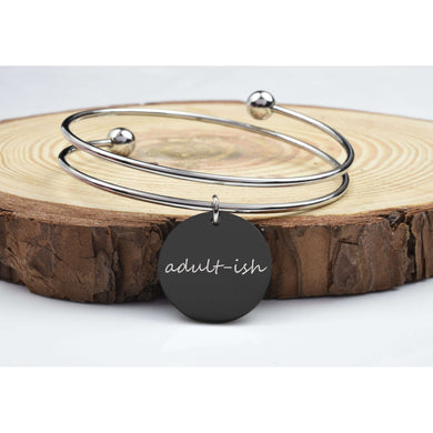 Two-Tone Solid Stainless Steel Inspirational Bangles By Pink Box