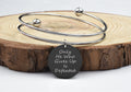 Solid Stainless Steel Two-Tone Inspirational Double Layer Bangle By Pink Box