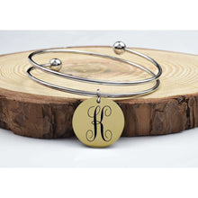 Two-Tone Double Layer Monogram Initial Bangles By Pink Box