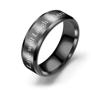 Brushed Polish 8mm Comfort Fit Ring - Live Laugh Love