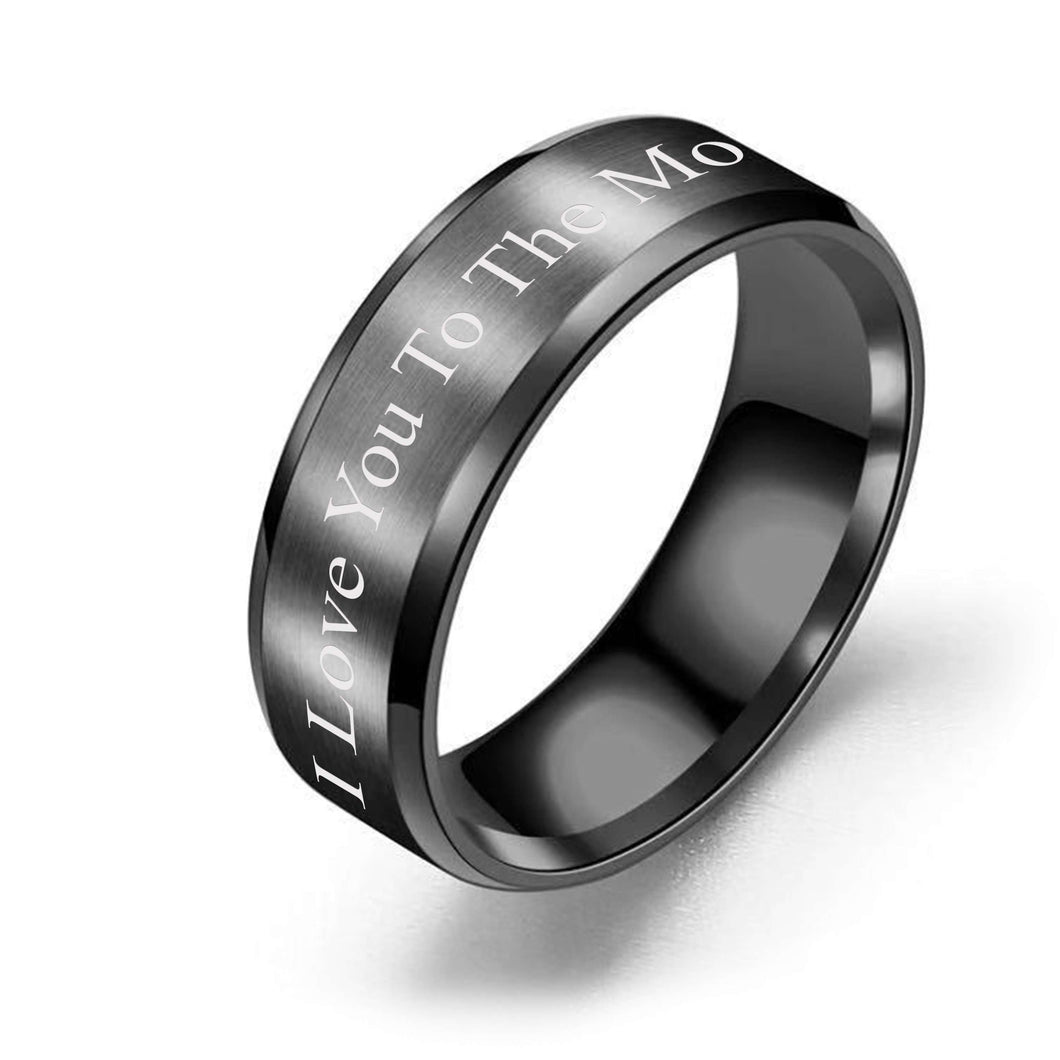 Brushed Polish 8mm Comfort Fit Ring - I Love You To The Moon