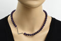 Genuine Amethyst Beaded Initial Necklace by Pink Box