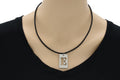 Intial Tag Cutout Leather Necklace By Pink Box