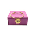 Pink Box Open Cable Initial Bangle With Ball Tips