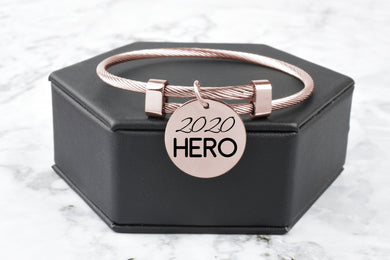 Stainless Steel Frontline Appreciation Bracelets in Rose Gold By Pink Box