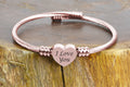 Personalized Solid Stainless Steel Bypass Heart Cable Bracelet