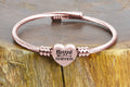 Frontline Appreciation Heart Cable Bracelet in Rose Gold By Pink Box