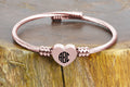 Personalized Solid Stainless Steel Bypass Heart Cable Bracelet - ROUND MONOGRAM